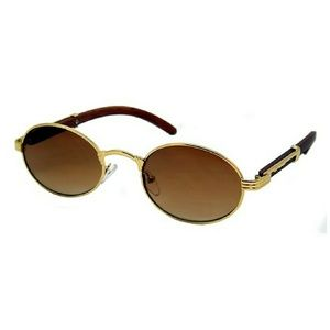Other - Gold Trim Wood Migos Style Oval Sunglasses